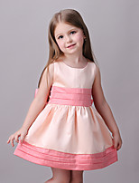 Girl's Casual/Daily Patchwork Dress,Cotton / Polyester All Seasons Pink / White / Yellow