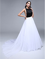 TS Couture® Formal Evening Dress A-line Jewel Court Train Chiffon / Satin with Crystal Detailing