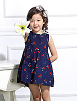 Girl's Casual/Daily Print Dress,Rayon Summer Blue / White
