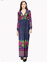 Women's Holiday / Plus Size Boho Swing Dress,Print Deep V Maxi Long Sleeve Blue Cotton / Polyester Summer