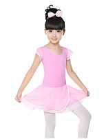 Ballet Dresses Children's Training Chiffon / Cotton Ruched 1 Piece  Short Sleeve Natural Dress Kid's Dance Costumes