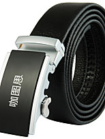 Katusi New Mens Black Ratchet Belt Fashion Business Casual Style Genuine Leather 3.5cm Width 6