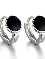 2016 Korean Women 925 Silver Sterling Silver Jewelry Black Acrylic Round Earrings Stud Earrings 1Pair