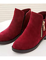 Women's Boots Winter Fashion Boots Fleece Casual Flat Heel Zipper Black / Red Others