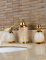Separated Type Imitation jade Two Handles Ti-PVD Bathroom Basin Faucet