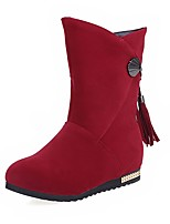 Women's Boots Fall / Winter Bootie / Round Toe Fleece Office & Career / Casual Flat Heel Tassel Black / Red