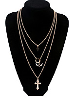 Smooth Angel Wings Multi-layer Cross  Alloy Necklace