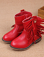 Girls' Shoes Casual PU Boots Winter Combat Boots / Round Toe Low Heel Chain / Tassel Black / Red