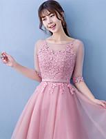 Short / Mini Lace / Satin Bridesmaid Dress Ball Gown Jewel with Lace / Sash / Ribbon