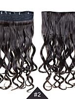 El clip en extensiones de cabello sintético de 24 pulgadas de 60 cm de largo 5 clips en el pelo # 2 clip de negro ondulado y rizado