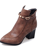 Women's Shoes Fashion Boots / Pointed Toe Boots Office & Career / Dress / Casual Chunky Heel Rivet / Buckle /
