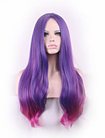 Sexy Long Slightly Curly Purple Red Ombre Cosplay Central Parting Women Wigs Girl Gift