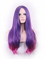 las mujeres atractivas largas ligeramente rizado de color púrpura ombre rojo cosplay centrales de despedida pelucas regalo de la muchacha