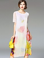 Angel Women's Going out Street chic Loose Dress,Print Round Neck Midi Short Sleeve White Linen Summer
