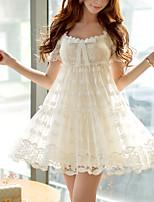 DABUWAWA® Women's Lace Sweetheart Short Sleeve Above Knee Dress-S49SB