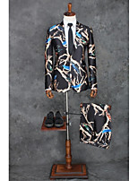 Suits Tailored Fit Peak Single Breasted One-button Polyester Patterns 2 Pieces Black Straight Piped