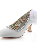 Women's Shoes Stretch Satin Spring /  Round Toe Heels Wedding / Dress Chunky Heel Crystal / Flower