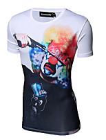 Men's Print Casual / Sport T-Shirt,Cotton Short Sleeve-Multi-color