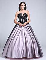 Prom Dress Ball Gown Strapless Floor-length Lace / Tulle with Beading / Lace