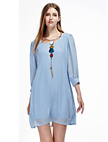 Women's Casual/Daily Simple Chiffon Dress,Solid Round Neck Above Knee ¾ Sleeve Blue / Green Polyester Summer