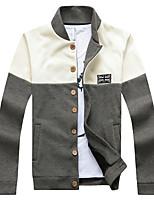 Conjuntos Activewear De los hombres Casual Un Color-Algodón-Manga Larga