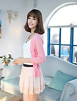 Women's Solid Pink / White / Green / Yellow Cardigan,Simple / Street chic ¾ Sleeve