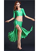 Belly Dance Outfits Women's Performance Chinlon Draped 2 Pieces Belly Dance Half Sleeve HighTop /