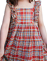 New Fashion Summer Toddler Girl's Plaid/Check Brick Red Sleeveless Dress,Cotton One-Piece Daily/Casual Dress
