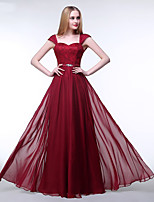 Formal Evening Dress A-line Straps Floor-length Chiffon / Lace with Beading / Lace / Sash / Ribbon