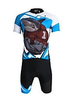 PaladinSport Men 's Cycyling Jersey + Shorts Suit DT643 Sharks Angry 100% Polyester