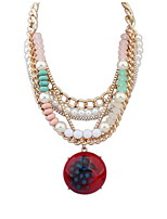 Fashion Multilayer Pearl Necklace Big Round Gem