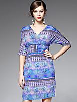 AFOLD® Women's V Neck 1/2 Length Sleeve Knee-length Dress-5503