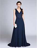 TS Couture®Formal Evening Dress Sheath / Column V-neck Sweep / Brush Train Chiffon with Appliques / Sequins