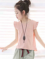 Boy's Casual/Daily Solid Pants,Cotton Summer Pink / White