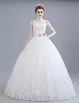 Ball Gown Wedding Dress Floor-length High Neck Lace / Satin / Tulle with Beading / Lace