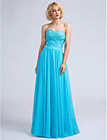 Lanting Bride Floor-length Chiffon / Lace Bridesmaid Dress A-line Sweetheart with Lace / Criss Cross