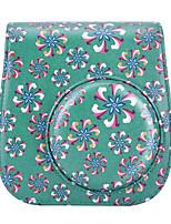 Trumpet Flower PU Leather Case Bag for Fujifilm Instax Mini 8 Instant Film Camera, Green