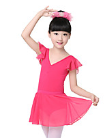 Children's Training Chiffon / Cotton Pleated / Ruffles 1 Piece Short Sleeve Kid's Dance Costumes