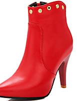 DamenKleid-Kunstleder-Blockabsatz-Spitzschuh / Modische Stiefel-Schwarz / Rot