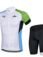 Men's Summer Professional Cycling White Shirt Bicycle Breathable Quick Dry Jersey + Bike 3D Cushion Pad Shorts Suit