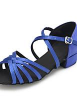 Chaussures de danse(Bleu) -Personnalisables-Talon Plat-Satin-Latine / Moderne