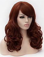 cosplay perruque Synthétique Sans bonnet Perruques Moyen Long Auburn foncé Cheveux