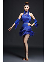 Latin Dance Dresses Women's Performance Spandex Crystals/Rhinestones / Tassel(s) 2 Pieces Black / Blue / Fuchsia / Red