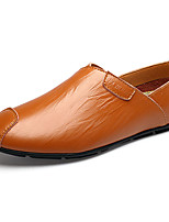 Men's Shoes Cowhide Casual Flats Casual Walking Flat Heel Others Black / Brown / White