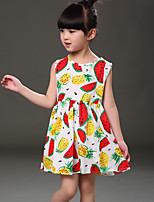 Girl's Casual/Daily Print Dress,Cotton Summer Black / White