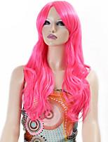 parrucche sintetiche onda lunga ricci capelli sintetici parrucche di colore rosa per le donne Cosplay di Natale