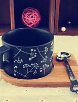 conjunto de cerámica taza de café helado (una cuchara y un soporte de vaso)