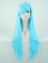 Capless Bule Color High Quality Natural Straight Synthetic Wig