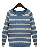 Women's Striped Blue / Gray Pullover,Street chic Long Sleeve