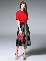 Ewheat® Women's Shirt Collar 1/2 Length Sleeve Tea-length Dress-H2517